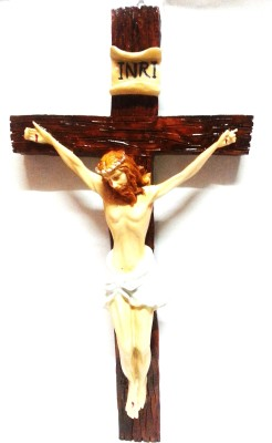 True Deal Jesus Christ on Cross Standing Wood for Home or Church Sanctuary Wooden Showpiece  -  32 cm