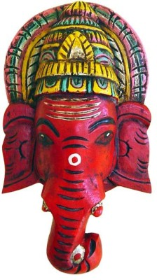 Surface 180 Wooden Ganesh Face Wall Stand With Hand Painting Showpiece  -  30.48 cm