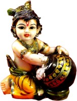 EfinitoGifts Hand Carved Baby Krishna Resin Idol Sculpture Statue Showpiece  -  14 cm(Polyresin, Multicolor)