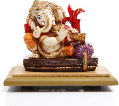 Adaa Lord Ganesha playing flute (Orange) Showpiece  -  9 cm