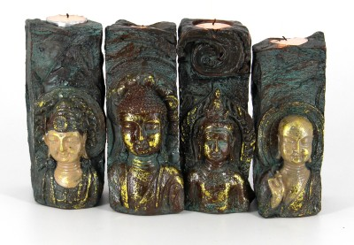 Swissport Four Sets Buddha Candle Stand Showpiece  -  16.50 cm