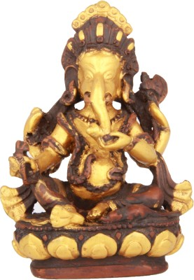 Adaa Lord Ganesha Sitting On Lotus (Gold) Showpiece  -  11 cm