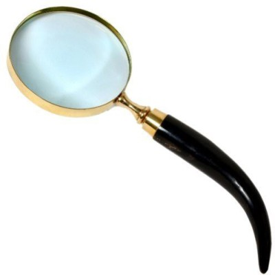 Sovam International Real Brass Magnifying Glass with Wooden Handle Showpiece  -  6 cm