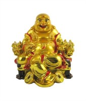 Bagru Crafts Feng Shui Laughing Buddha Showpiece  -  7 cm(Polyresin, Gold)