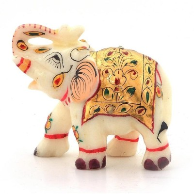 Radhey Marble Tiny Elephent With Beautifull Desine And Color Single Showpiece  -  5 cm