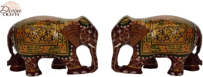 Divinecrafts Set of 2 Brown-Gold Painted Elephant Statue Showpiece Showpiece  -  5.3 cm