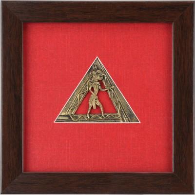 Vidushi Dhokra Jaali Frame Showpiece  -  16.5 cm(Alloy, Yellow)