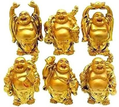 Shubh-Bhakti 6 Pcs of Laughing Buddha- Energized Showpiece  -  4 cm