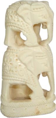 Haveli Arts Bone Elephent Tower Showpiece  -  7.5 cm(Polyresin, White)