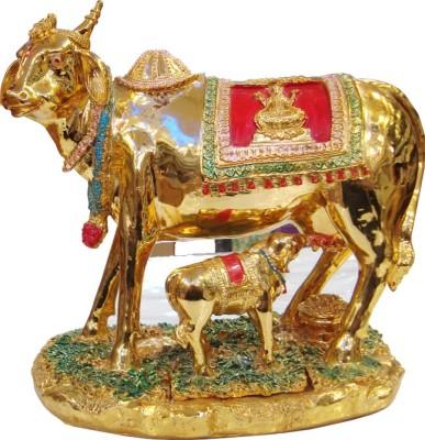 Raghav Golden Religious Kamdhenu Cow Showpiece  -  15 cm