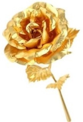 Tofa 24 Kt Gold Foiled Rose Flower 25 cm Best Gifting Option to show your loved one Showpiece  -  25 cm(Wooden, Gold)