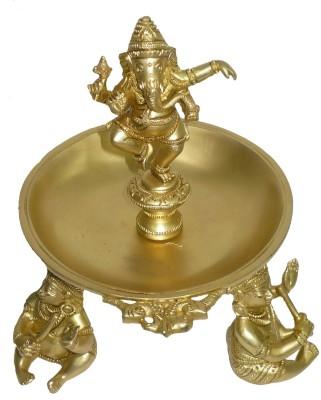 Bharat Haat Ganesh With Musical Boy Showpiece  -  19 cm(Brass, Yellow)