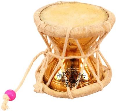 IndianArtVilla Damaru Pellet Drum Showpiece  -  6.35 cm(Brass, Gold)