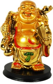 Sigaram Happy Man - Laughing Buddha Idol, best suited for Office-Desk, Table Decor, Home, shop and Car Dashboard - K463 Showpiece - 10 cm(Microfibre, Multicolor)