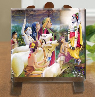 Tiedribbons Bhagwan Shri Krishna Tile With Easel Stand Showpiece  -  26 cm(Ceramic, White)