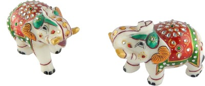 Chave Marble Elephant Pair With Jaipuri Gold Kundan Meenakari Work Showpiece  -  8 cm