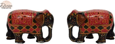 Divinecrafts Set of 2 Black Painted Elephant Statue Showpiece Showpiece  -  5.3 cm