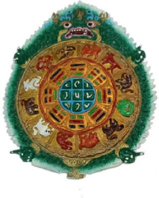 VASTUGHAR Kaalchakra, The Astrlogical Wheel of Buddhism - Wall Hanging, EVIL EYE PROTECTER Showpiece  -  25 cm(Zinc, Green)