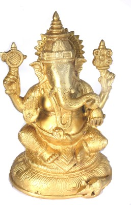 SKM Brass idol Ganeshaa ji Plain Showpiece  -  17.78 cm