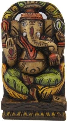 Aaradhi Divya Mantra Wall Decor Hand Carved Single Piece Wooden Chintamani Ganesha Showpiece  -  21 cm