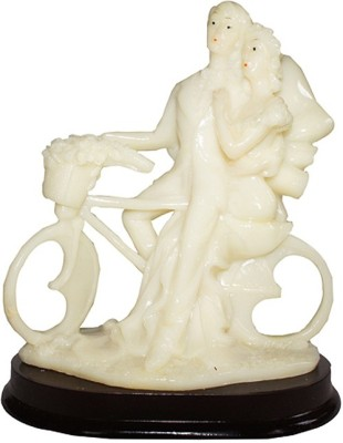 Dharmaraj Links White Cycle Couple Showpiece  -  22 cm(Polyresin, White)