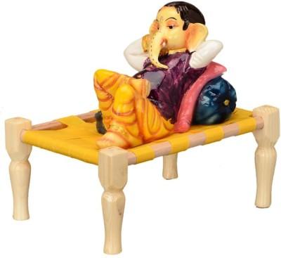 Shree Krishna Handicrafts And Gallery Lord Ganesh Sleeping On Charpai Showpiece  -  22 cm