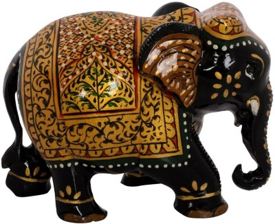 eCraftIndia Painted Elephant with Decorative Golden Shawl Showpiece  -  7.62 cm