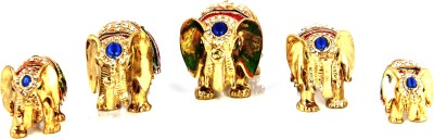 Adaa Set Of 5 Enamelled Stone Elephants Showpiece  -  5 cm