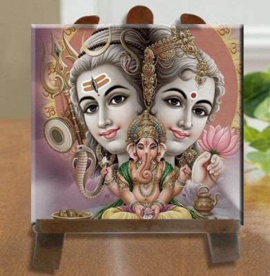 Tiedribbons Shankar Parvati With Ganesh Tile Showpiece  -  26 cm(Ceramic, White)