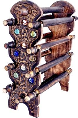 Genius Bird Wooden Bangle Stand (Antique, 8 Rod) Showpiece  -  38 cm