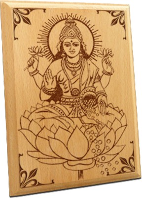 Tiedribbons Maa Laxmi Wooden Engraved Plaque Showpiece  -  10 cm(Wooden, Beige)