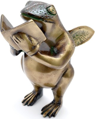 Aakrati Book Reading frog statue Made in Solid Metal Showpiece - 14 cm(Brass, Brown)