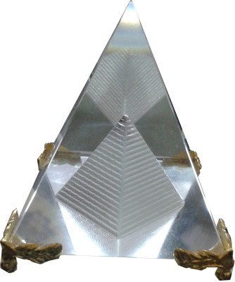 Gooddeals Crystal Pyramid Paper Weight With Stand Large Size Showpiece  -  8 cm