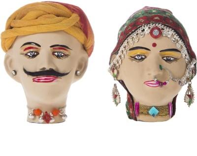 Smile2u Retailers Rajasthani Art Worked Kaka Kaki Showpiece  -  10.5 cm(Terracotta, Multicolor)