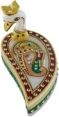 Chave Marble Peacock Roli Sindoor Tilak Vase with kundan work ( Marble Chopra ) Showpiece  -  2 cm
