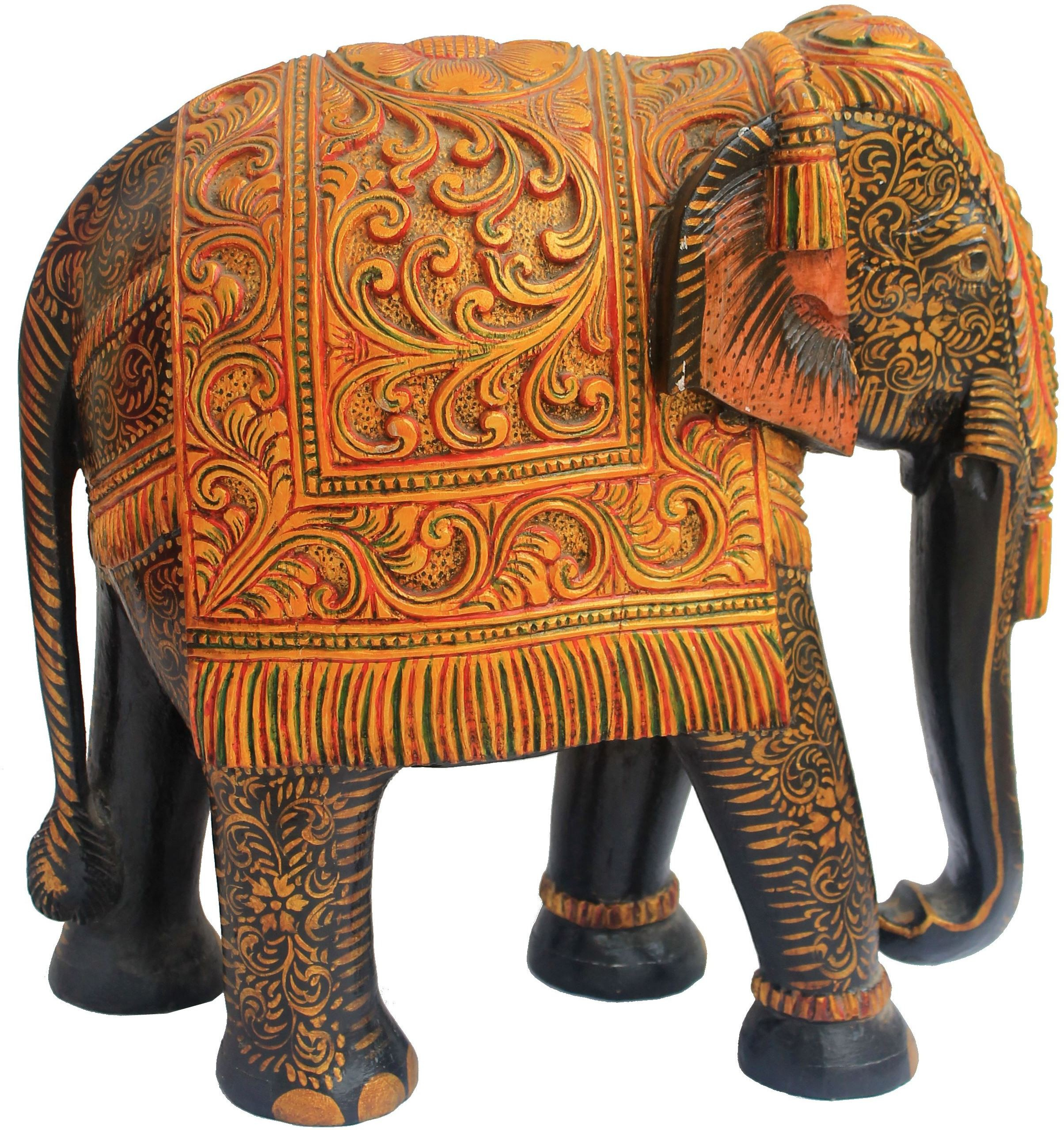 Craft International Elephant Carved Painted - 15 Inch Showpiece  -  19 cm(Wooden, Multicolor)