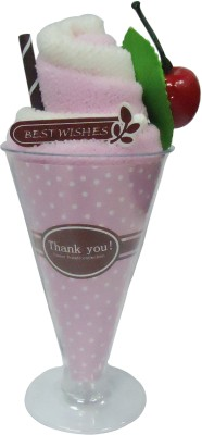 Gift-Tech Towel Ice-Cream With Cherry A Gift For Your Dear One Showpiece  -  17 cm(Cotton, Pink)