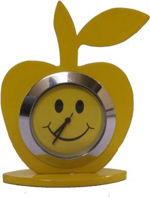 Divyas Apple Shape Car Dashboard Clock (Yello) Showpiece  -  7 cm