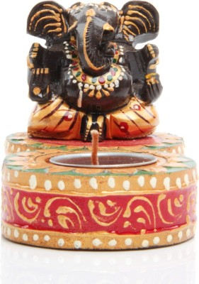 Adaa Lord Ganesha with Single Diya (Maroon) Showpiece  -  8 cm