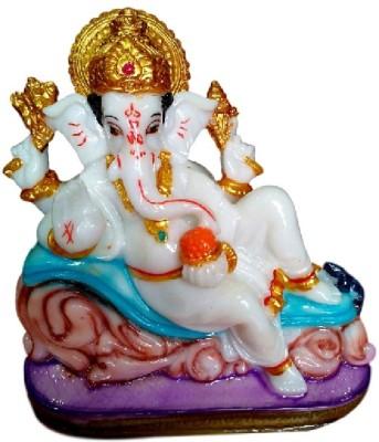 Divine Temples Divine Ganesha Sitting Posture Showpiece  -  14 cm(Polyresin, Multicolor)