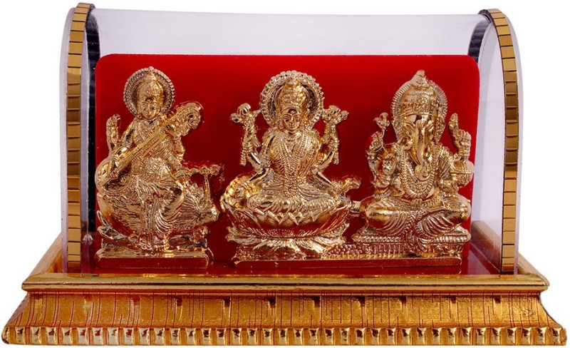 Art N Hub Goddess lakshmi / Laxmi & Lord Ganesha Idol God Statue Gift Item Showpiece  -  8 cm(Gold Plated, Acrylic, Gold)