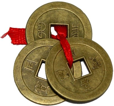 7 Ocean Feng Shui Chinese Lucky 3 Coins tied in Red Ribbon - 1 set Showpiece - 2 cm(Copper, Copper)