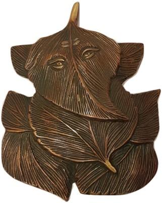 MohanJodero Elegant Brass Peepal Patta Ganesha Showpiece  -  14 cm