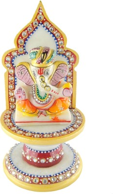 Chave Marble Pagdi Ganesh with singhasan and real hand painting of rajasthan Showpiece  -  10 cm