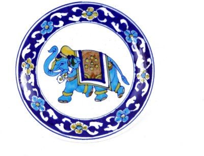 KOLAMBAS KOLAMBAS Blue Pottery Plate Home Decorative Handicraft Gift Showpiece  -  2.5 cm(Pottery, Blue)
