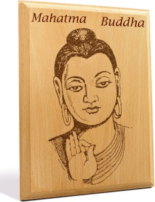 Tiedribbons Mahatma Buddha Engraved Plaque Showpiece  -  18 cm(Wooden, Brown)