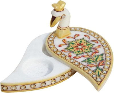 Handicrafts Paradise Marble Roli Tika Holder Showpiece  -  7.5 cm