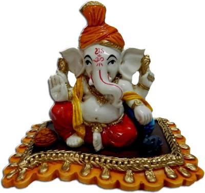 Anant Pagdi Ganesha Idol on An Aasan Showpiece  -  8 cm
