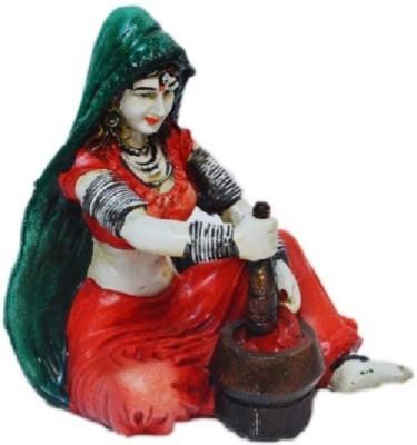 HanumantCreations Rajasthani Lady Grinding Chilli Showpiece  -  15 cm