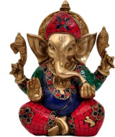 Aesthetic Decors Ganesha Carved W Big Years in Stone Work Showpiece  -  18 cm(Brass, Multicolor)